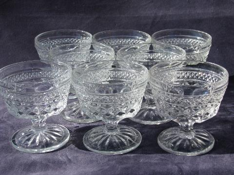Wexford waffle pattern pressed glass sherbets or ice cream