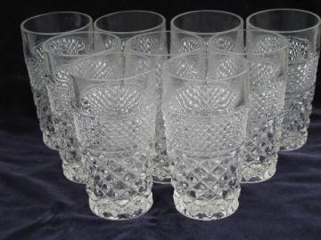 Wexford waffle pattern pressed glass tumblers, Anchor Hocking