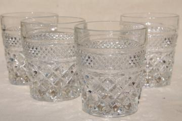 Wexford waffle vintage Anchor Hocking old fashioned lowball glasses, glass tumblers