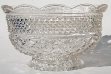Wexford waffle vintage Anchor Hocking pressed glass fruit bowl, clear color