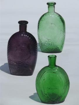 Wheaton vintage antique reproduction bottles, green & amethyst glass bottle lot