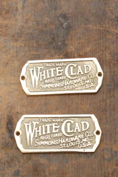 White Clad solid brass name plates, reproduction hardware for antique icebox