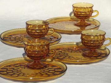 Whitehall Colony glass cube snack sets cups & plates, retro amber gold glassware
