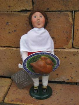 Williamburg boy w/ Christmas turkey, Byers Choice caroler figure