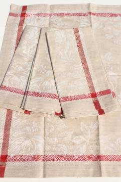 Williams Sonoma Russian damask dinner napkins, vintage flax linen white & red