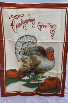 Williams Sonoma Thanksgiving Greetings vintage turkey print cotton towel made in Italy