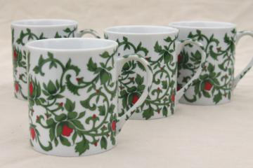Williams Sonoma holiday coffee mugs set, vintage Japan ceramic cups green vines w/ red