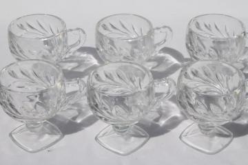 Willow pattern vintage crystal clear Indiana glass footed punch cups set of 6