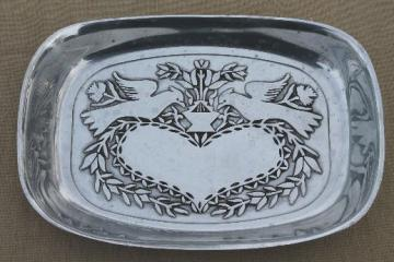 Wilton Armetale pewter Pennsylvania Dutch heart & lovebirds bread tray, RWP mark