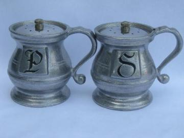 Wilton Armetale pewter salt and pepper shakers, vintage S&P set