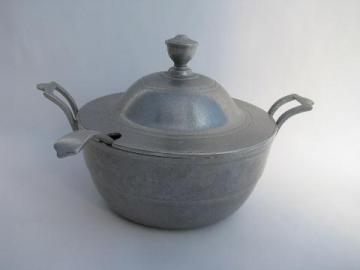 Wilton Armetale pewter, vintage covered dish - tureen w/ ladle