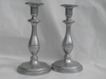 Wilton armetale pewter, pair tall candlesticks, RWP mark candle sticks