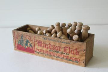 Windsor Club vintage wood cheese box with primitive old wooden clothes pegs clothespins