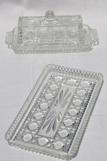 Windsor Pattern Pressed Glass Butter Dish Amp Relish Tray