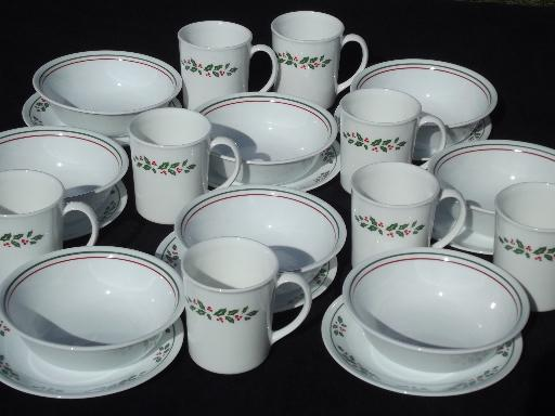 Winter Holly Corelle dishes setfor 8, Christmas mugs, bowls, plates