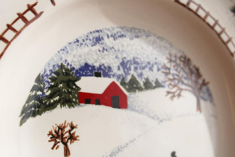 Winterside holiday dinnerware, 2000s vintage Tienshan china stoneware salad plates