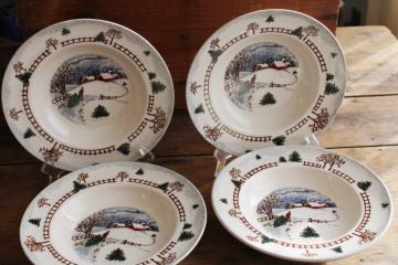 Winterside holiday dinnerware, 2000s vintage Tienshan china stoneware soup bowls