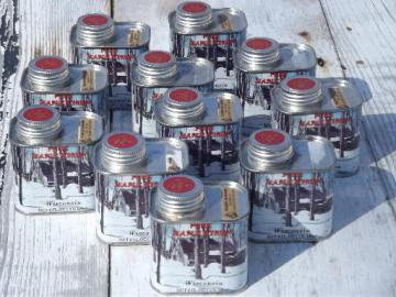 Wisconsin maple syrup tins, lot of old metal litho cans 80s vintage
