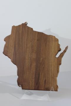 Wisconsin shape handcrafted walnut wood cheese board serving tray, home state or souvenir
