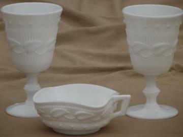 Wistar / Betsy Ross Fostoria milk glass goblet wine glasses & candy dish