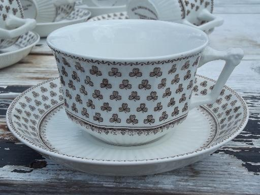 Wm Adams Sharon Brown Transferware Shamrock Clover China
