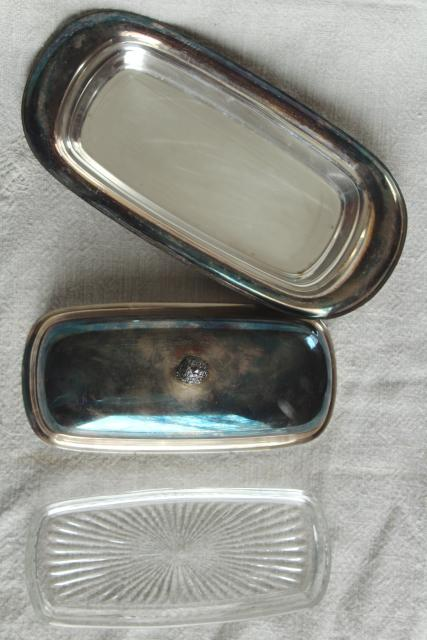 Wm Rogers vintage silver plate stick butter dish w/ cover and glass liner