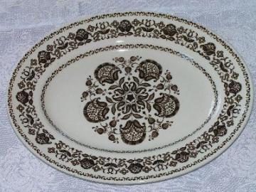 Wood - Wellesley brown, vintage ironstone china, platter