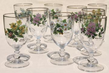 Worcester Herbs pattern glassware, water or wine glasses, Royal Worcester go-along goblets