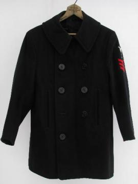 World War II vintage sailors heavy military wool pea coat