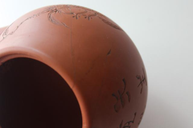 Yixing type vintage Chinese redware clay tea pot, inscised horse chestnut herb