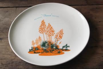 Yucca dinner plate, vintage Arizona Cactus dinnerware Universal pottery Blakely pattern