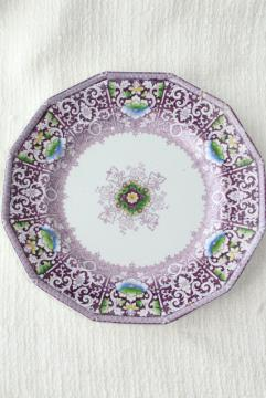 Zamara purple transferware china plate, antique English ironstone Francis Morley mid 1800s vintage