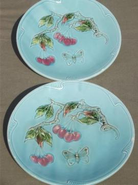 Zell Germany antique majolica china plates, shabby cherries on blue
