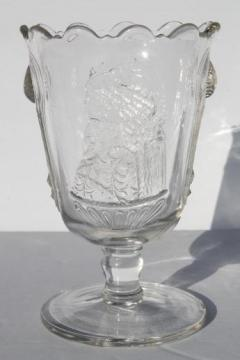 actress pattern pressed glass spooner with Maud Granger, Mary Anderson