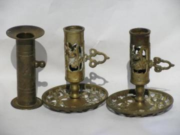 adjustable candle sticks, solid brass candle holders lot, courting candlesticks
