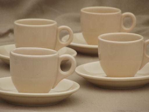 adobeware tan ironstone restaurant espresso cups set, vintage Iroquois china