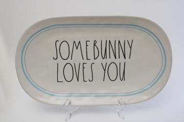 ae Dunn platter for Easter, farmhouse style spring decor Some Bunny Loves You