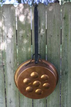 aebelskiver pan, vintage copper pan w/ long forged iron handle, rustic kitchen decor