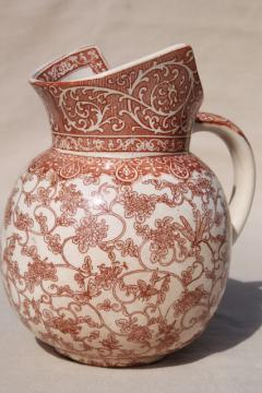 aesthetic antique Royal Doulton china jug, brown transferware print bugs, butterflies & bees