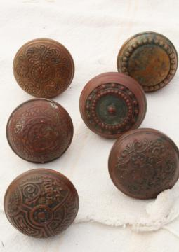 aesthetic movement antique brass door knobs,   original patina Eastlake vintage hardware lot