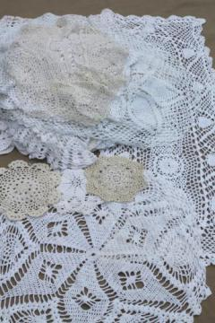 all white & ivory vintage linens lot, lace table runners, crochet lace doilies