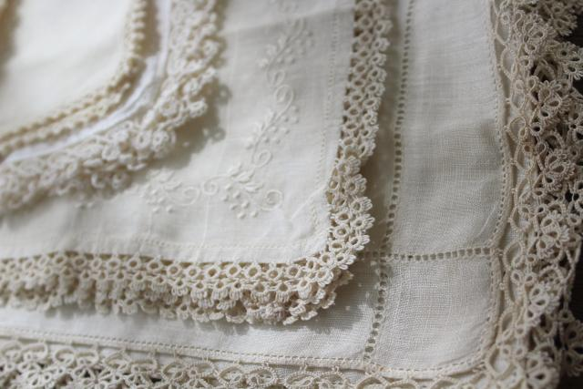 all white vintage cotton linen hankies, handkerchiefs w/ handmade lace tatting, tatted edging