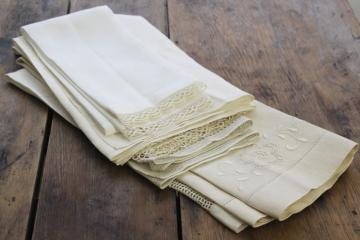 all white vintage fancywork towels w/ embroidery & lace, cotton & linen powder room linens
