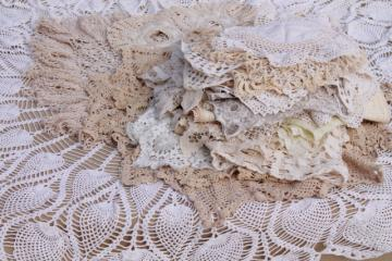 all white work vintage crochet lace & linens lot, doilies, table mats & centerpieces