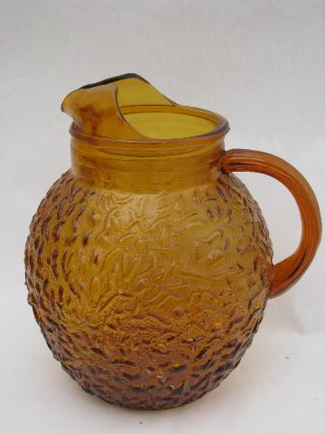Amber Brown Retro Sorreno Glass Pitcher Vintage Anchor