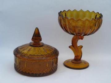 amber colored glass, vintage candy dishes lot for Halloween & Thanksgiving