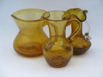 amber crackle glass, retro vintage hand-blown art glass pitchers lot