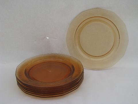 amber glass Fostoria Fairfax pattern vintage salad plates lot