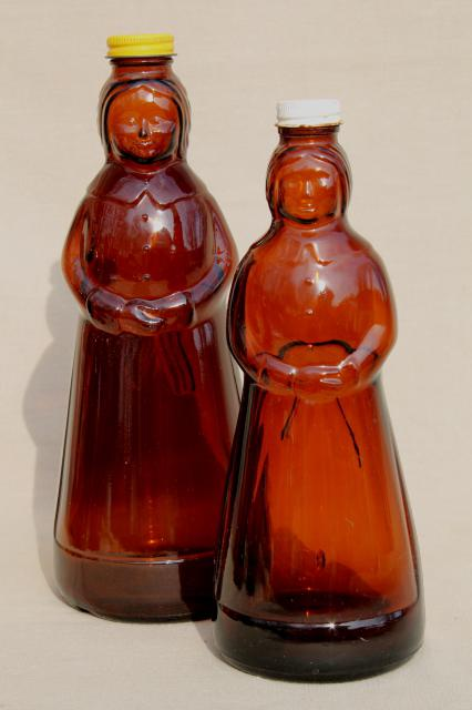 amber glass Mrs Butterworth syrup bottle lot, lady shape bottles for dolls or crafts
