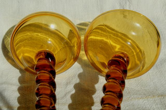 amber glass barley twist candlesticks, pair of vintage Tiffin glass candle holders